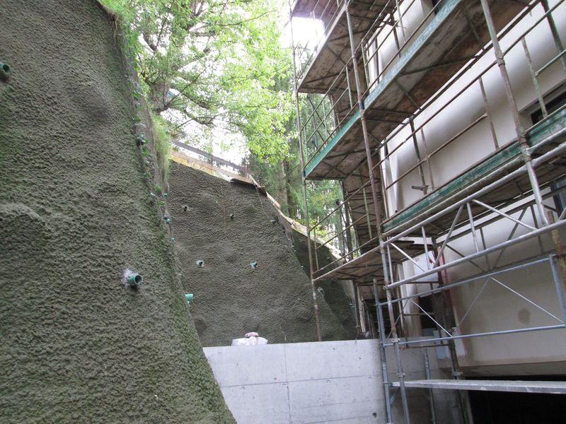 Avant le semis de mousse, le mur est enduit d'une colle spéciale