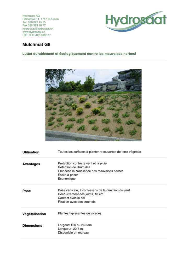 Mulchmat G8 - empêchement des mauvaises herbes