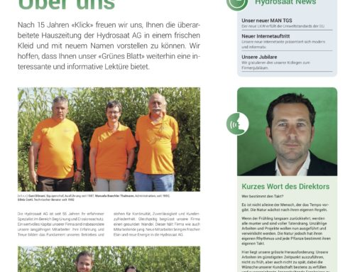 """Unsere neue Hauszeitung """"Grünes Blatt"""" ist da!"""