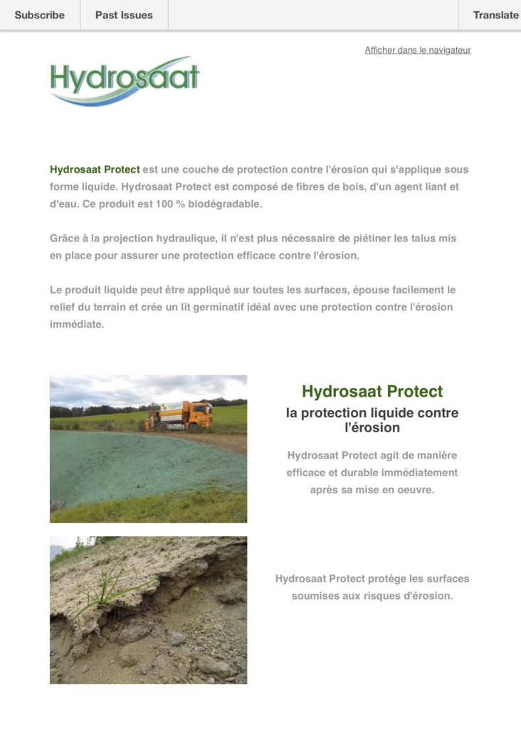 Hydrosaat Protect Newsletter