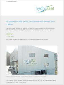 Hydrosaat AG ist umgezogen