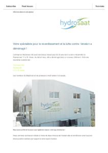Newsletter - Hydrosaat AG a déménagé