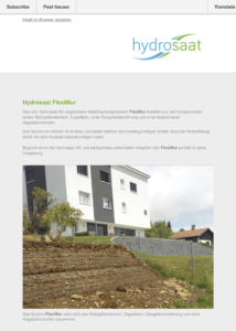 Newsletter Stützkonstruktionen FlexiMur und Flexistone