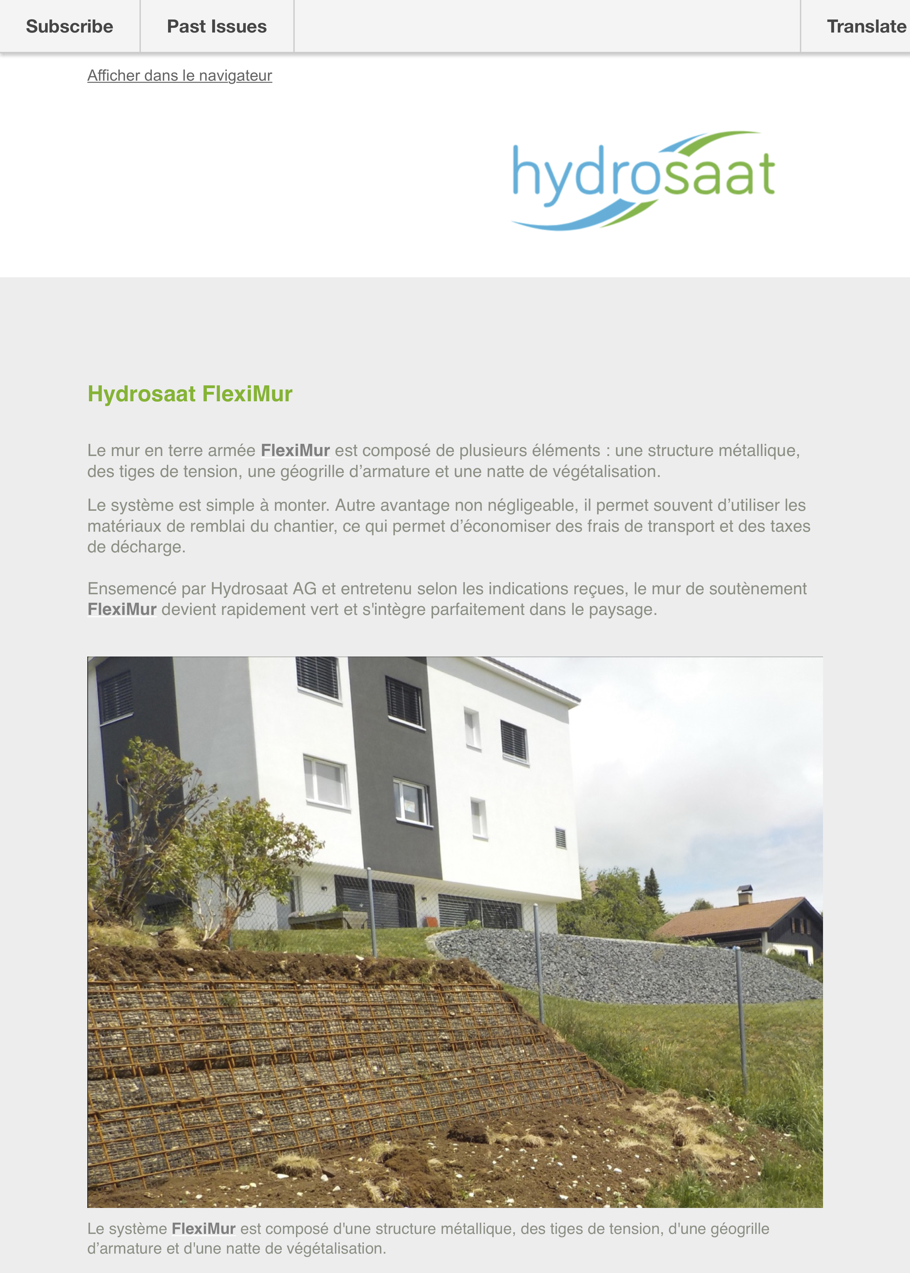 Newsletter FlexiMur et FlexiStone