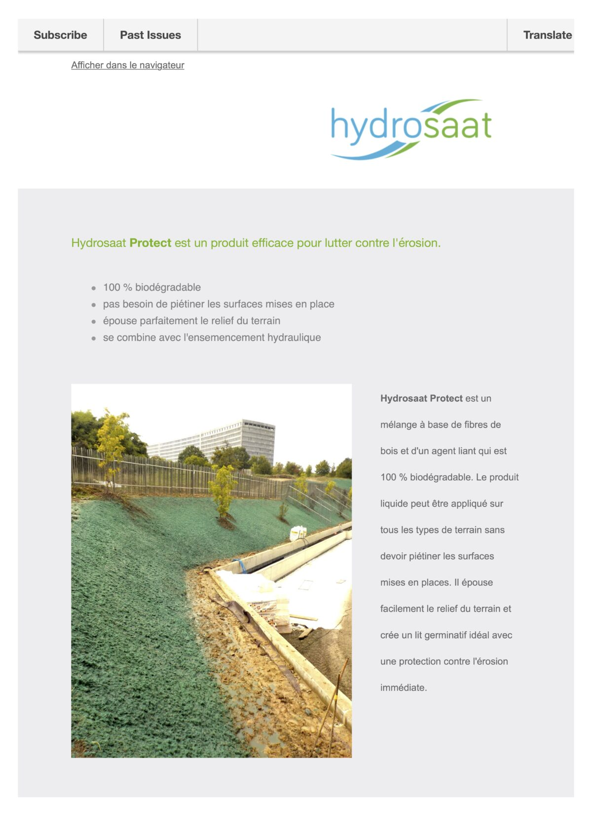 Hydrosaat Protect - protection liquide contre l'érosion de surface