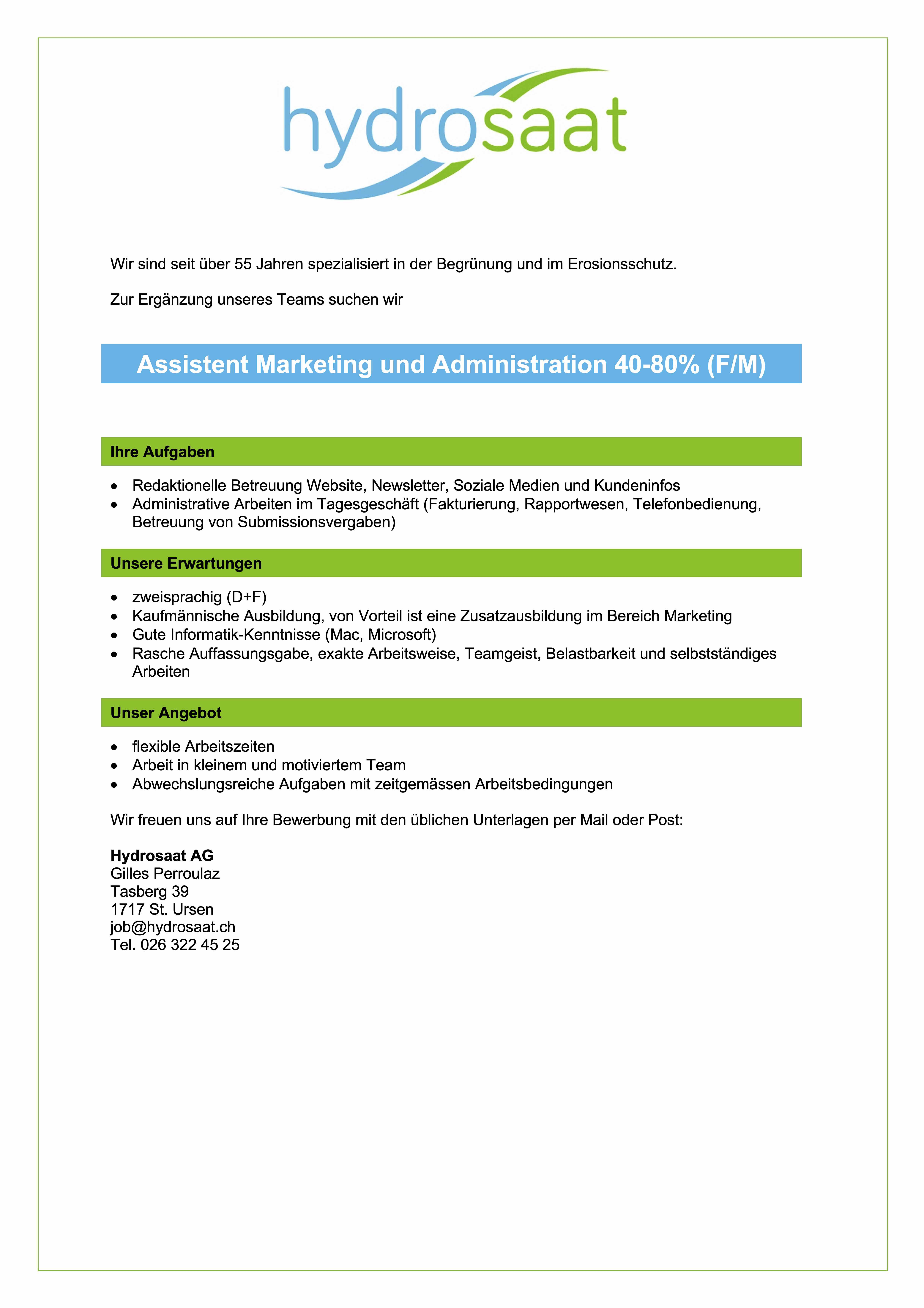 Assistent/-in Marketing und Administration