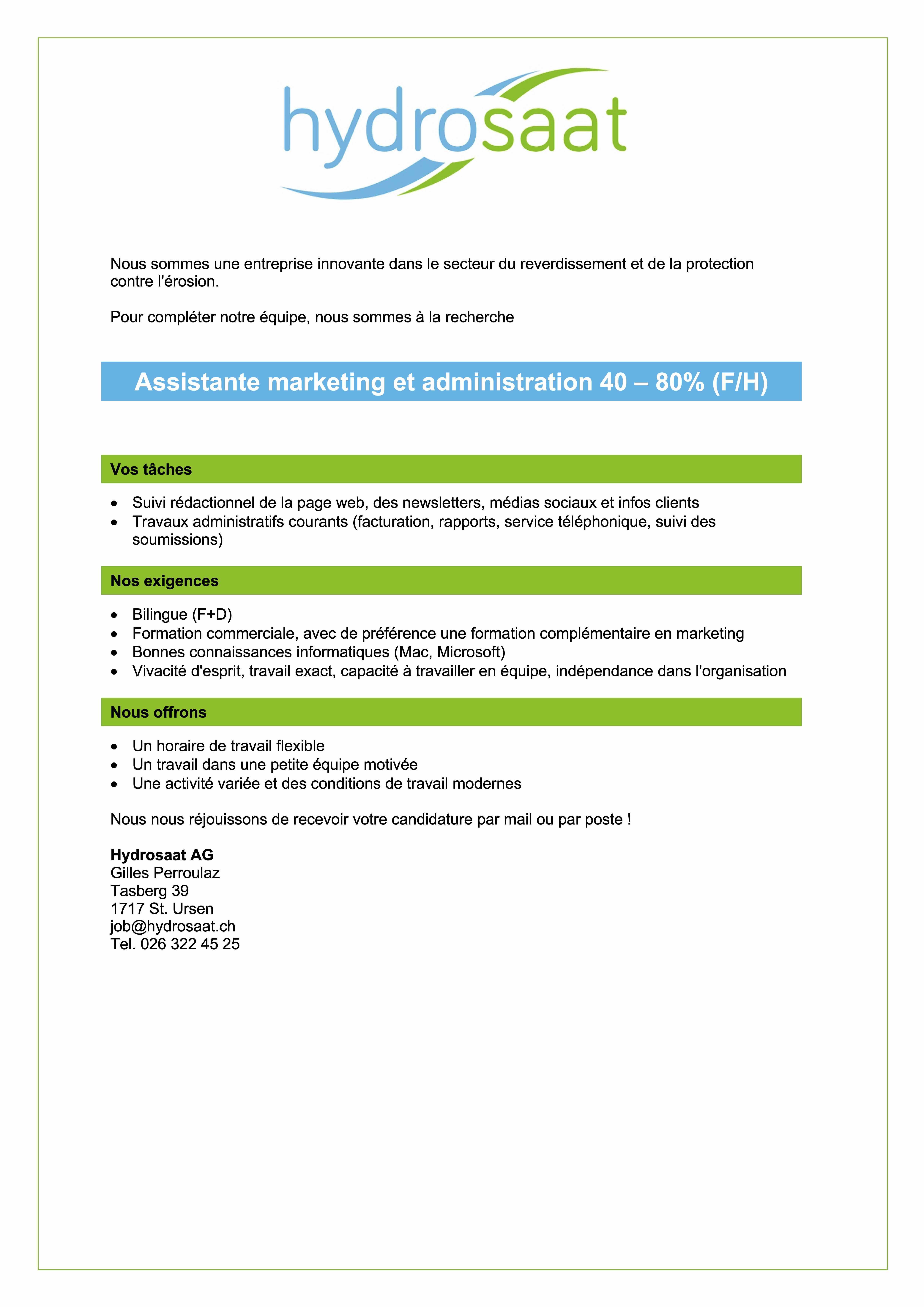 Assistante marketing et administration F/H